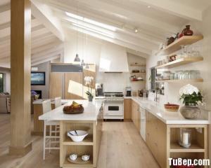Tủ bếp gỗ Laminate thiết kế đẹp màu vân gỗ chữ L – TBT24
