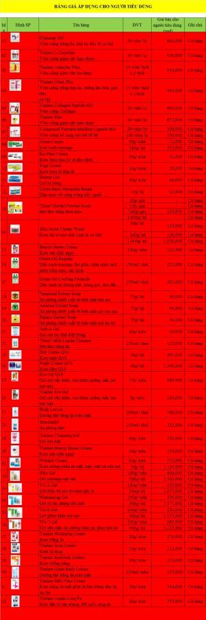 Bảng giá mỹ phẩm yanhee