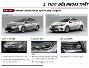 Phần đầu xe Toyota Altis 2018:Điểm thay đổi sẽ là thiết kế cụm đèn trước, mặt ca lăng, lưới tản nhiệt và Lazăng thể thao kết hợp với hai đường dập nổi ở nắp capo khiến chiếc xe thể thao, sang trọng và khỏe khoắn. Cụm đèn trước xe Altis 2018 đã được nâng cấp thiết kế với kiểu dáng sang trọng và thể thao hơn kết hợp hài hòa với các thanh crom vuốt dài của mặt ca lăng tăng thêm sự tinh tế và khiến chiếc xe Toyota Altis 2018 thêm sự khỏe khoắn. Đồng thời, chóa đèn cũng được thiết kế lại để tăng khả năng chiếu sáng, an toàn hơn. Lưới tản nhiệt phía dưới gồm các thanh nan ngang chạy dài nối liền hai bên đèn sương mù tạo cho chiếc xe Toyota Altis vẻ mạnh mẽ và trẻ trung hơn so với phiên bản xe Altis 2017.