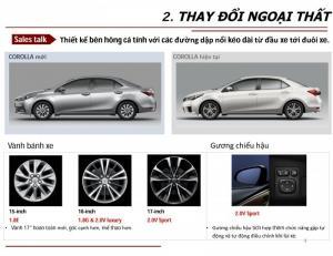 Hông xe Toyota Altis 2018: Về cơ bản phía hông xe Corolla Altis 2018 không có nhiều thay đổi ngoại trừ gương chiếu hậu có cải tiến để có góc nhìn rộng hơn tăng sự an toàn cho lái xe và Lazăng đúc hợp kim nhôm màu đen trắng được trang bị cho xe Altis 2018 với thiết kế trẻ trung, hiện đại tăng thêm sự năng động cho chiếc xe Altis mới này. Vành xe Toyota Altis 2018: Thiết kế vành bánh xe của các phiên bản của Altis 2018 không giống nhau. Mỗi phiên bản lại mang nét đặc trưng riêng của phiên bản đó. Phiên bản Toyota Corolla Altis 2.0V SPORT là phiên bản được trang bị vành bánh xe lớn nhất, lên đến 17 inch với thiết kế 5 chấu kép sơn đen kết hợp mạ hợp kim đem lại nét thể thao cho chiếc xe. Hai phiên bản Toyota Corolla Altis 2.0V LUXURY và Toyota Corolla Altis 1.8G vẫn giữ mẫu thiết kế của Altis 2017 với vành 16 inch, 5 chấu đơn đan xen 5 chấu kép bằng hợp kim sáng bóng, đầy chất lịch lãm và sang trọng. Hai phiên bản Toyota Corolla Altis 1.8E (CVT) và Toyota Corolla Altis 1.8E (MT) có thiết kế vành bánh xe khá độc đáo với vành 15 inch, 10 chấu to đem lại sự cứng cáp, khỏe khoắn cho chiếc xe.