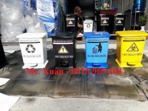 Thùng rác đạp chân y tế 10 lít xanh, vàng, đen, trắng