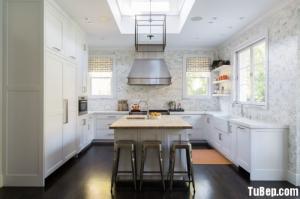 Tủ bếp gỗ Tần Bì sơn men trắng phong cách tân...