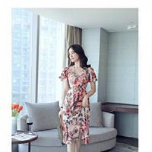 Đầm xòe in hoa tay phối bèo D357