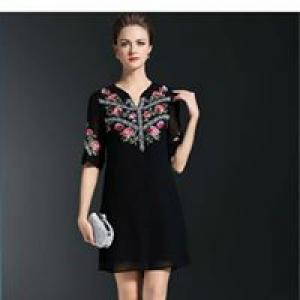 Đầm suông tay lỡ đen thêu hoa cao cấp D356