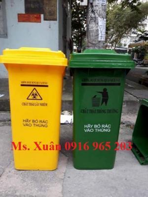 Thùng rác 120 lít 2 bánh xe xanh vàng, Thùng rác y tế 120 lít xanh, vàng có logo y tế