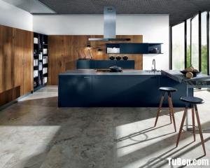 Tủ bếp gỗ Laminate màu xanh kết hợp màu vân gỗ chữ L – TBT25