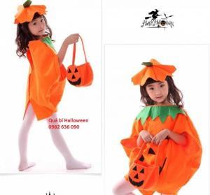 Quả bí ngô Halloween: 200.000đ Gồm áo quả bí + mũ + túi bí ngô xách tay Dành cho bé 2-5 tuổi