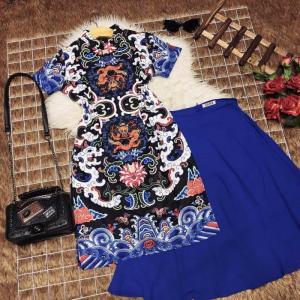 Set bộ áo dài cách tân in họa tiết và chân váy SET067