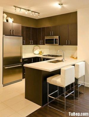 Tủ bếp MDF xanh chống ẩm bề mặt phủ Laminate
