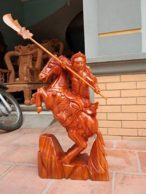 Tượng Quan Công Cưỡi Ngựa Cao 70 Gỗ Xà Cừ