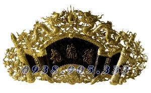 Cuốn thư câu đối đức lưu quang bằng đồng vàng sơn đen