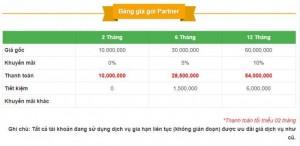 Bảng giá Partner