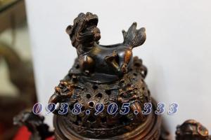 Đỉnh song long chầu nguyệt đốt trầm hương cao 18cm