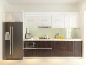 Tủ bếp lõi MDF phủ Acrylic bóng gương chữ I -...