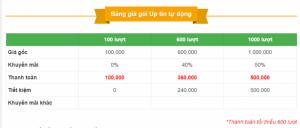 Bảng phí Up tin tự động  1.000đ/1 lần up