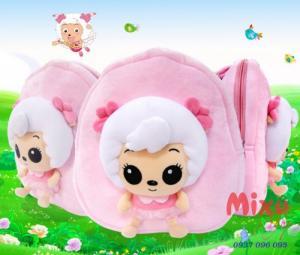 Balo trẻ em hình chú cừu con bằng vải nhung mềm mịn