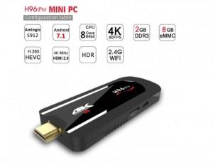 Android Tv Box H96 PRO Mini PC, lõi 8 ram 2Gb, Kích Thước Nhỏ Gọn - MSN181288