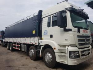 Xe tải thùng 4 chân shacman màu xanh , đỏ , trắng