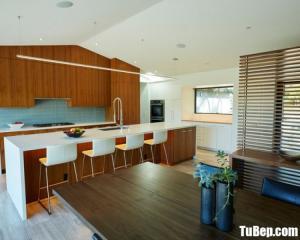Tủ bếp gỗ Laminate màu vân gỗ chữ I thiết kế hiện đại – TBT35