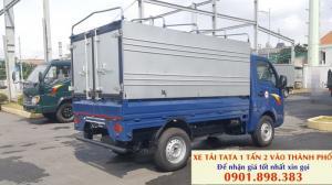Ban xe tải TATA ẤN Độ 1 tấn 2 giá tốt. Xe thùng mui bạt chở hàng thành phố, có trả góp
