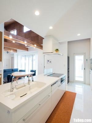 Tủ bếp gỗ Acrylic chữ I màu trắng đơn giản – TB37