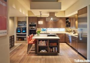 Tủ bếp Laminate kiểu dáng chữ L vân gỗ phong...