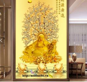 Tranh gạch 3D, tranh thần tài- Tranh cây tiền vàng 3D