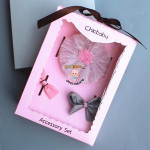 Set Chicbaby 02 - Hộp 1 Băng Đô Và 2 Kẹp Tóc Cho Bé Gái