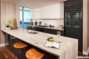 Tủ bếp Acrylic phối màu phong cách hiện đại