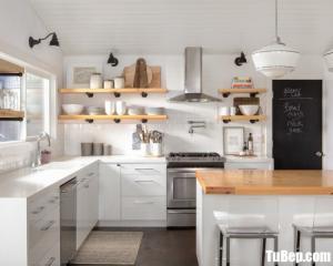 Mẫu tủ bếp gỗ Acrylic  với gam màu trắng hiện đại– TBN0040