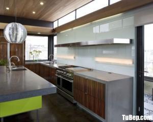 Tủ bếp gỗ Acrylic chữ I màu vân gỗ thiết kế hiện đại – TB39