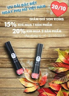 Chào mừng ngày 20/10 đại lý son kem lì cao cấp Roses giảm giá Shock 15-20%