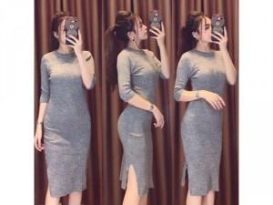Váy body len gân hàng QC