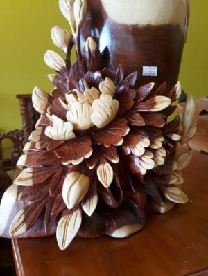 Tượng bình chim hoa gỗ hương- TCH01