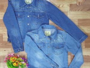 Áo khoác jean nữ tay dài