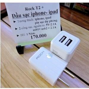 Cóc Sạc Rock T2 GS-50210C, Hỗ trợ 2 cổng USB 2.1A Sạc Nhanh Gấp 2 Lần Sạc Thường