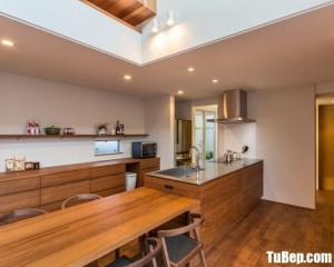 Tủ bếp gỗ Laminate thiết kế hiện đại chữ I – TBT43