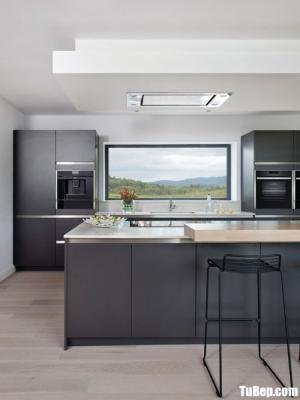 Tủ bếp gỗ Laminate màu xám chữ I hiện đại – TBT44