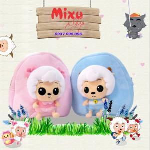 Balo trẻ em vải nhung hình chú cừu con