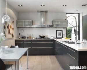 Tủ bếp gỗ Laminate màu vân gỗ chữ L – TBT44