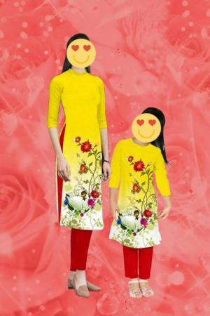 May bộ đôi áo dài mẹ và bé