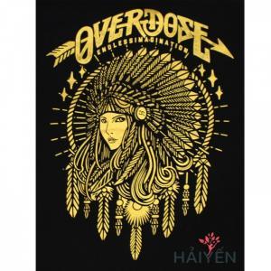 Áo thun OverDose Thái Lan màu đen in cô gái thổ dân nhũ vàng T0003