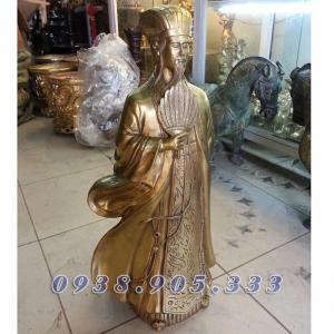 Tượng Khổng Minh cao 25cm, tượng đồng Gia Cát Lượng phong thủy