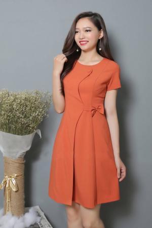 Đầm Xòe Tay Con Nơ Eo - Cam (S,M,L