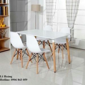 Bộ bàn ghế nhựa chân gỗ cho phòng ăn, cho kinh doanh cà phê, quán ăn