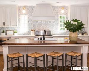 Tủ bếp chữ I chất liệu Sồi sơn men trắng kết hợp bàn đảo sang trọng – TBN0045