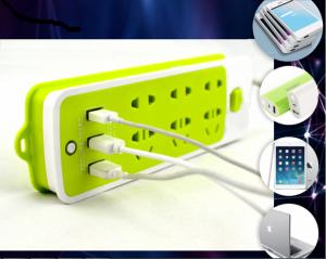 Ổ Cắm Điện Đa Năng 2 in 1, 6 ổ cắm, 3 cổng USB Chống Cháy Nổ - MSN383239