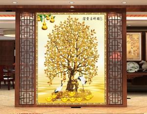 Tranh 3d cây tiền vàng