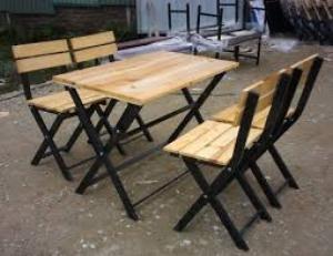 Ghế gỗ quán nhậu sân vườn