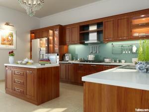 Tủ bếp gỗ Xoan Đào sơn PU mang vẻ đẹp cổ điển sang trọng